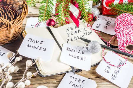New year resolution concept with different plan and goals, with New year and Christmas decorations, copy space
