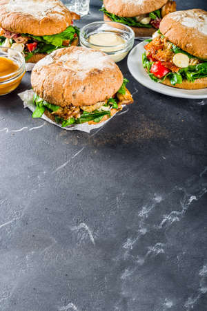 Various Seafood And Fish Burgers Assortment Homemade Healthy Stock Photo Picture And Royalty Free Image Image 136713452