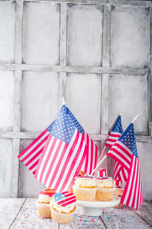 Independence Day July 4 congratulations background. Veterans Day. American Constitution holiday. USA American tradition greeting card. Patriotic home cupcakes with americas symbols decor