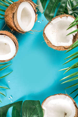 Tropical summer background with tropical palm leaves and coconuts, trendy turquoise, aquamarine background flatlay copy space