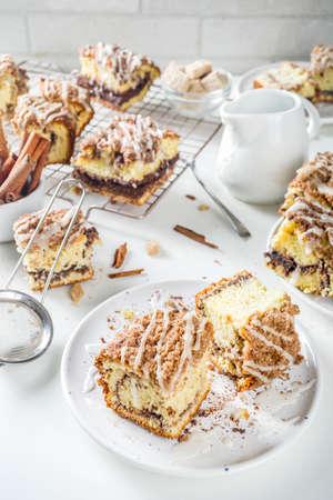 Homemade autumn winter sweet cakes, Cinnamon-Streusel layered Coffeecake.