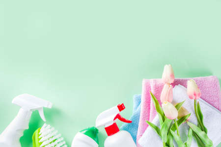 Spring home cleaning and housekeeping concept, Basket with cleaning items, utensils, supplies. Copy space over green background with spring blossom flowers