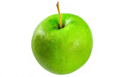 Fresh raw organic green apple isolated on white