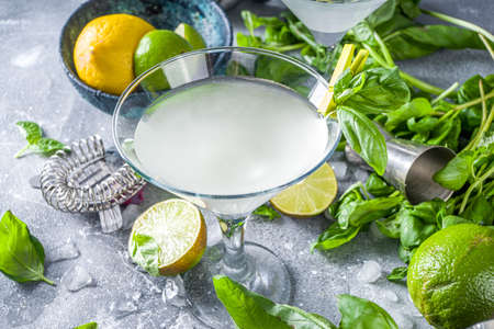 Basil vodka gimlet martini cocktail. Strong alcohol drink with fresh basil, lime and vodka in classic martini glass, Grey stone background copy space Banque d'images