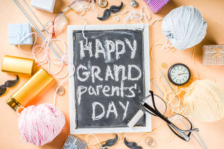 Happy Grandparents day background. Grandparents holiday gift card, granny and grandpa's day celebration, Flatlay copy space