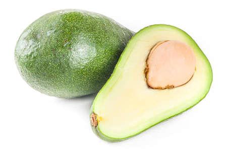Raw organic avocado, whole and sliced avocado isolated on white background