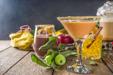 Various autumn winter alcohol cocktail set. Traditional fall alcoholic hot and iced drink in different glasses 스톡 콘텐츠