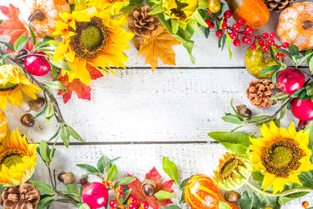 Festive autumn background, still life decor with pumpkins, berries, leaves on white wooden background. Concept background for Thanksgiving or Halloween holiday, copy space, flatlay Imagens
