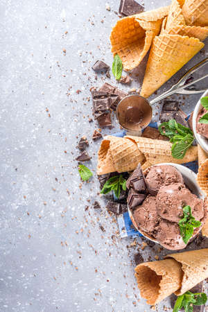 Homemade chocolate ice cream with chocolate pieces and shavings, and ice cream cones. In small white bowls on white gray stone table copy space Imagens