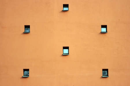 Six small windows on a wall