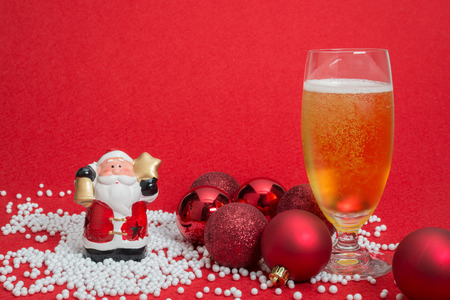 Christmas decorations, Santa Claus and a glass of beer