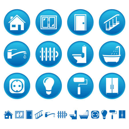 button batteries: House repair icons Illustration