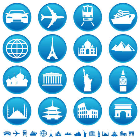 bigben: Transportation and landmarks icons Illustration