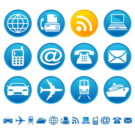 Transport en telecom pictogrammen Stock Illustratie