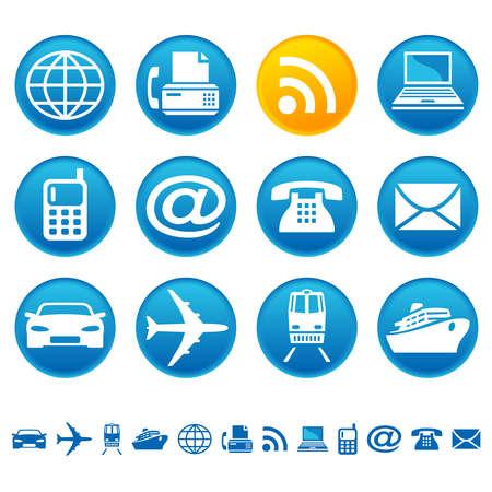 Transportation and telecom icons Vector