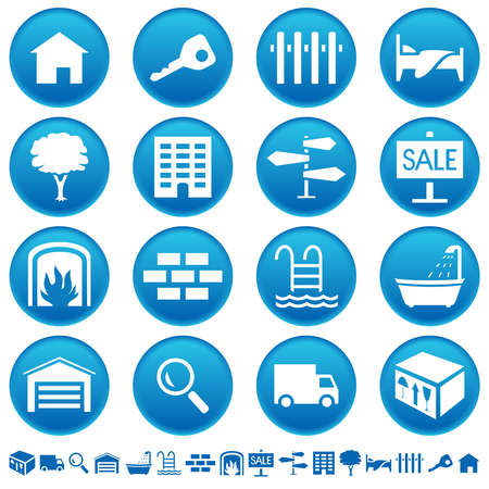 Real estate icons Stock Illustratie