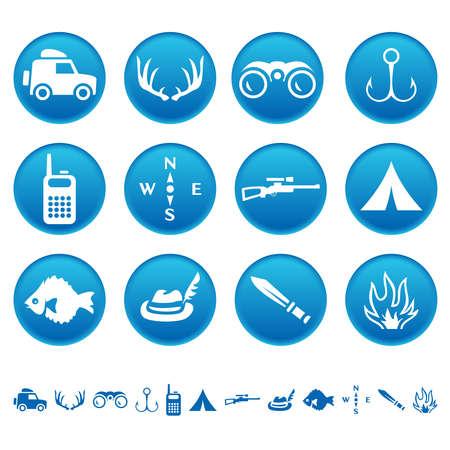 icon buttons: Caza y pesca iconos Vectores