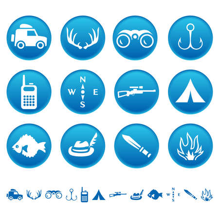 Hunting and fishing icons Vector