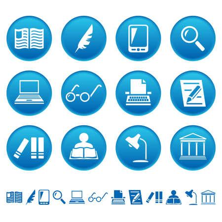 Boek schrijven en lezen pictogrammen Stockfoto - 28915092