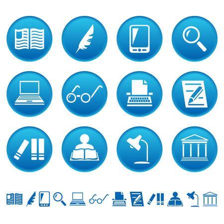 Book writing and reading icons Vector