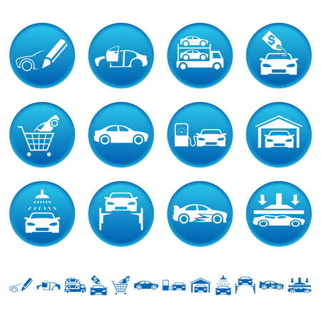 Automotive iconen Stock Illustratie