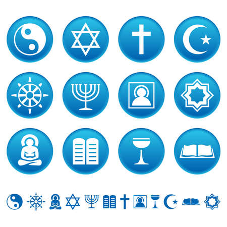 religious symbols: Religion icons Illustration