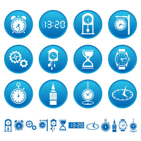 Clocks and watches icons Vector