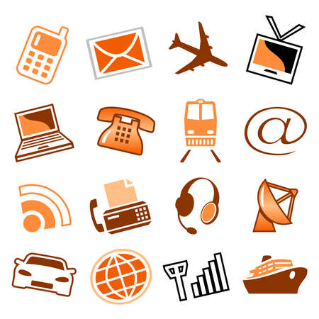 Telecom and transport icons Vector