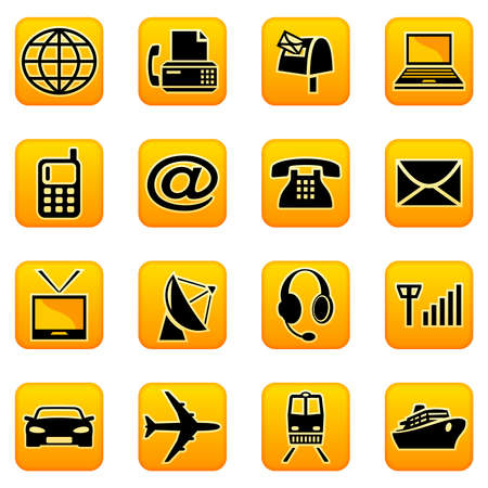 telecoms: Telecoms and transportation icons Illustration