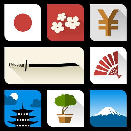 japanese yen: Japanese flat icons