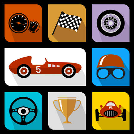 Racing vlakke pictogrammen Stockfoto - 29452336