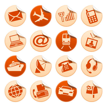 telecoms: Telecom and transport stickers Illustration