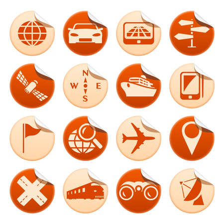 Navigation and transport stickers Vector