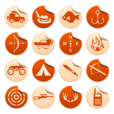 Hunting and fishing stickers Vector