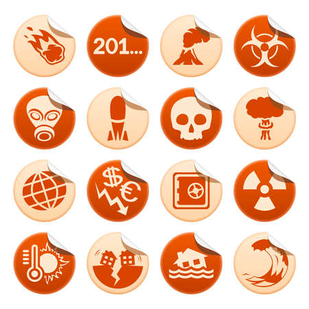Apocalyptic and natural disasters stickers Vector