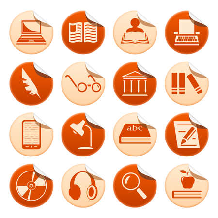 Book writing and reading stickers Vector