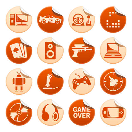 Computer games stickers Vector