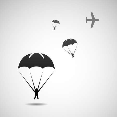 parachutists: Parachute sport illustration