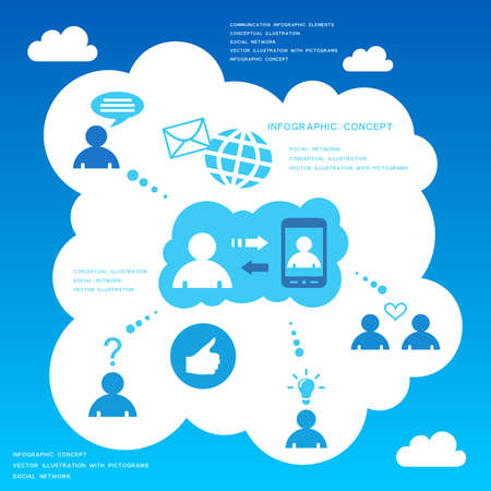 telecom: Social network infographic design elements Illustration
