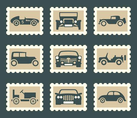 stamp collecting: Retro car set Illustration