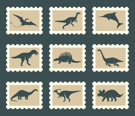 tyrannosaurus rex: Conjunto de dinosaurios Vectores