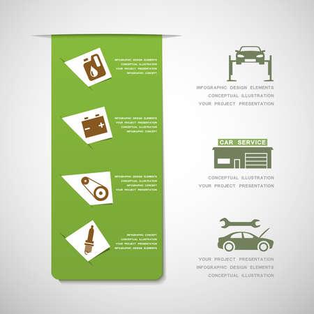 service center: Car service design elements Illustration
