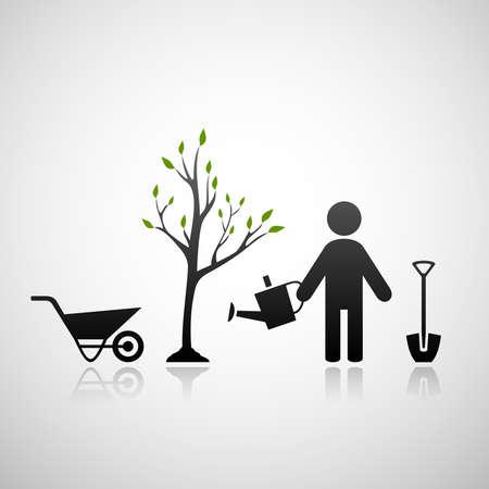 Gardener and sapling Vector