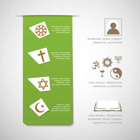 protestantism: World religions infographic design elements