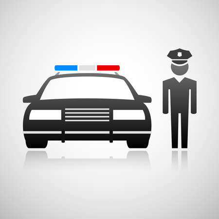 police icon: Policeman and police car Illustration