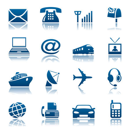 fax: Telecoms and transportation icon set Illustration