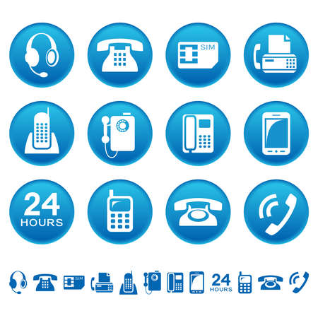 Phones and fax icons Vector