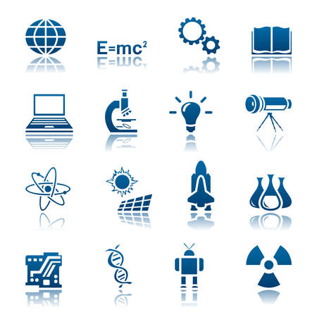Wetenschap en technologie icon set Stock Illustratie
