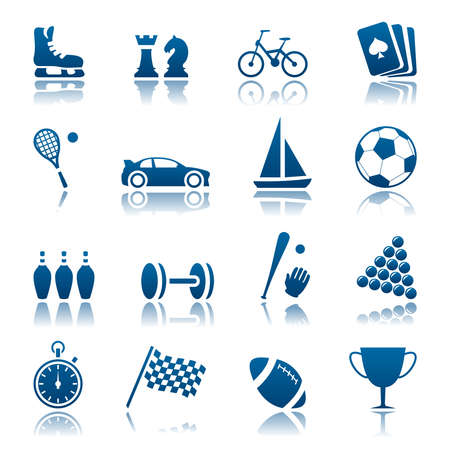tennis racket: Sport and hobby icon set Illustration