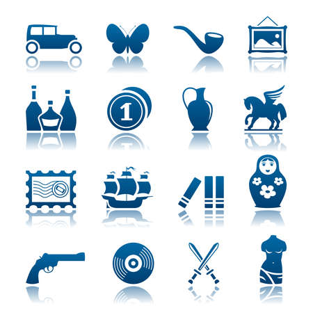nested: Collecting and hobby icon set Illustration